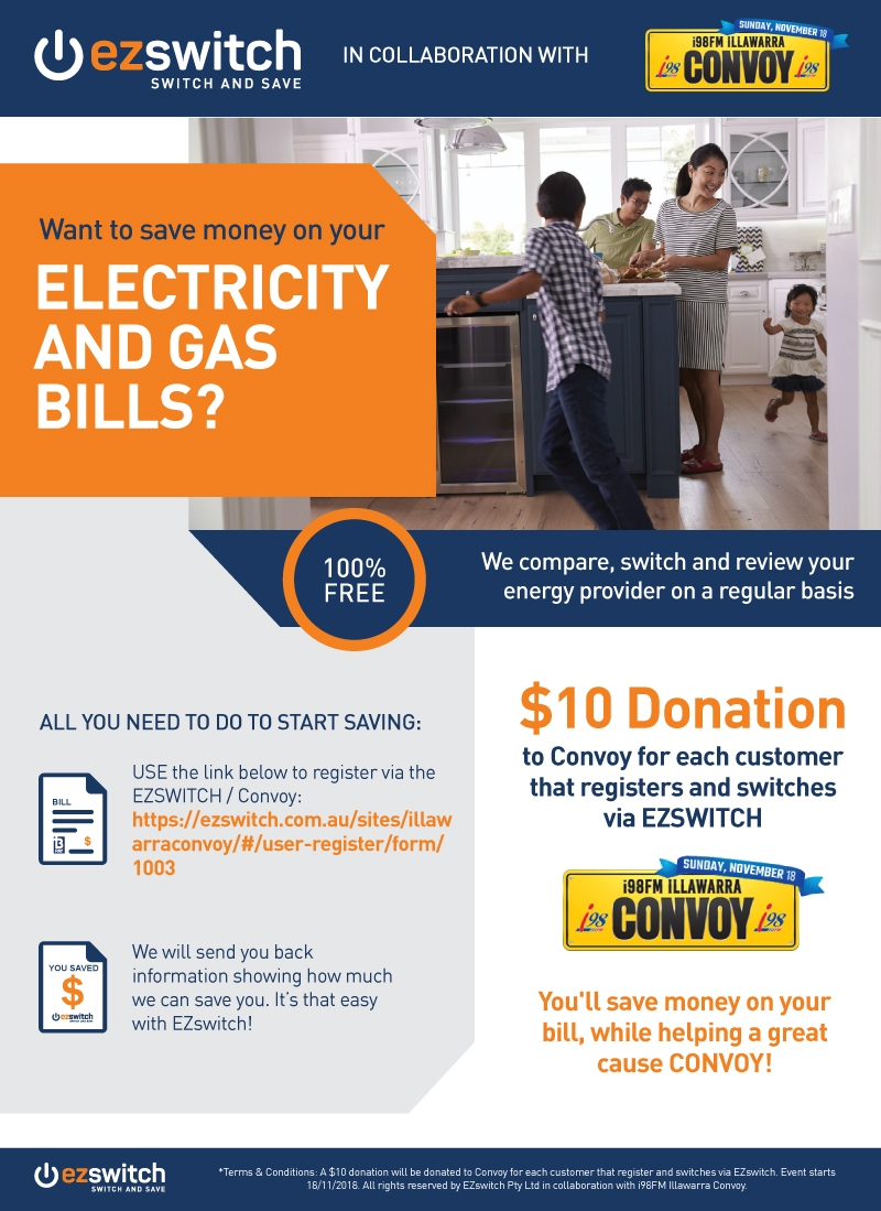 Ezyswitch will donate $10 to Convoy for every customer who switches their utilies bills with their service