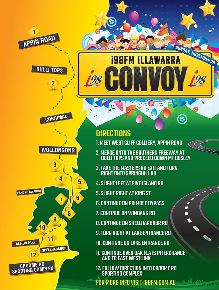 Convoy Route, start and finish locations and start times