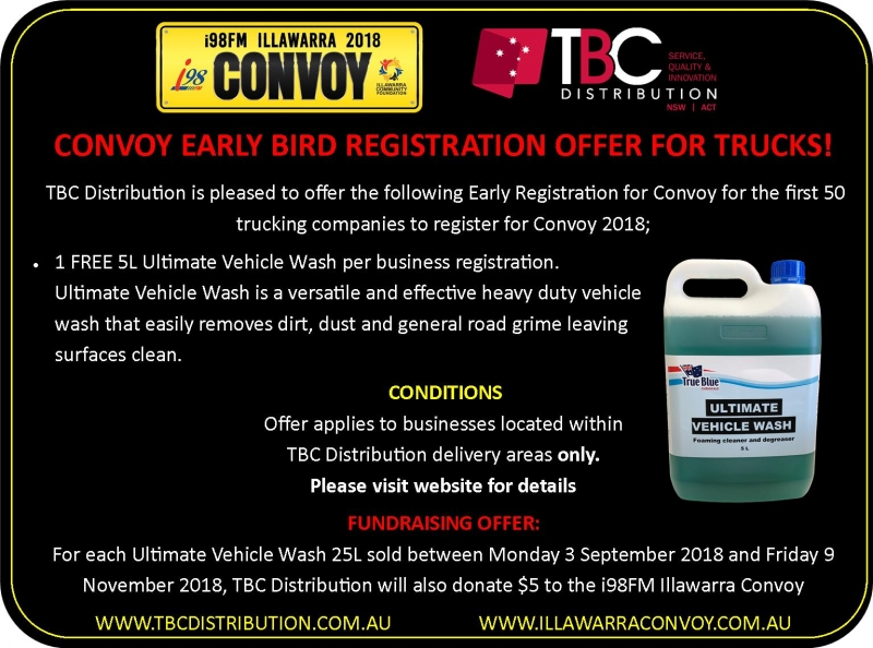 TBC Distribution are offering a FREE 5L Ultimate Vehicle Wash to the first 50 truck companies to register for Convoy!