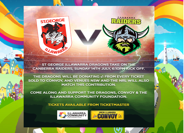Dragons vs Raiders game to support Convoy & Illawarra Community Foundation