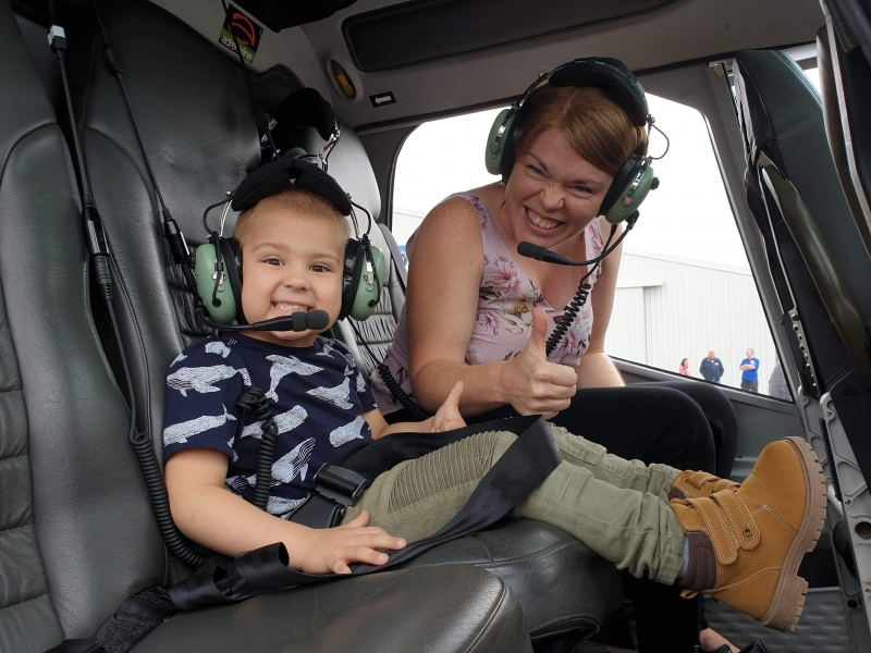 Zac supported by Convoy, and enjoys a ride in a helicopter!